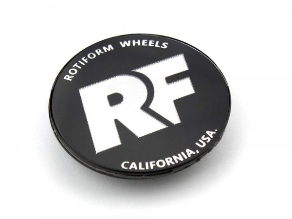 """Rotiform Emblem """"RF"""" für Zentralverschluss in Schwarz / Silber"""